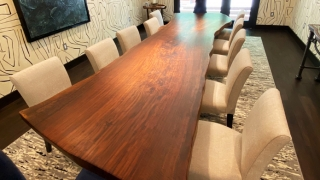 5' x 14' Live Edge Walnut Dining Table with Stainless Steel Base