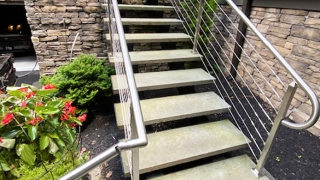6W15 Steel I-Beam and Slate Slab Stairs with Stainless Steel Cable Handrails