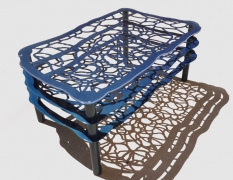 3 Tier Butterfly Wing Inspired Aluminum Coffee Table Powder Coated Toxic Blue Pearl - Designed by: Victoria Humphrey