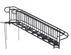 9 Step Adjustable Stair Unit w/ Custom Handrails - Side View