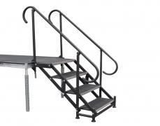 4 Step Adjustable Stair Unit w/ Custom Curved Handrails