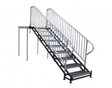 9 Step Adjustable Stair Unit with Aluminum Handrails