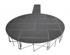 Non-Skid Quad Ripple Circle Stage w/ Runway - Top View