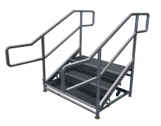 3 Step Free Standing Stair Unit with Curved Handrails and Front Closure Panels