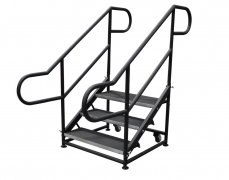 3 Step Free Standing Stair Unit with Curved Handrails and Casters
