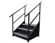 3 Step Free Standing Stair Unit with Front & Side Closure Panels - Side View
