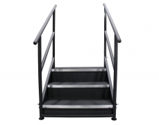 3 Step Free Standing Stair Unit with Front & Side Closure Panels - Front View