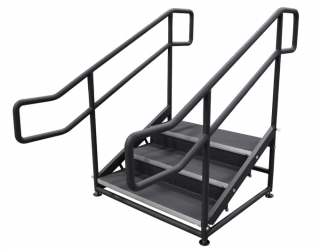 3 Step Free Standing Stair Unit with Curved Handrails and Closure Panels (Side View)