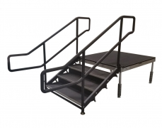 3 Step Fixed Height Stair Unit with Curved Handrails & Closure Panels