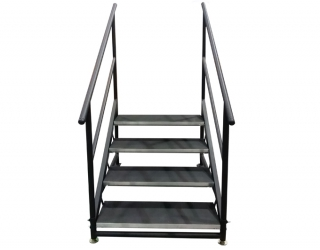 4 Step Free Standing Stair Unit with Casters (Front View)