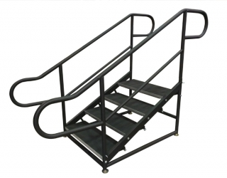 4 Step Free Standing Stair Unit with Curved Handrails (Side View)