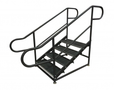4 Step Free Standing Stair Unit with Curved Handrails