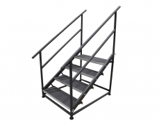 4 Step Free Standing Stair Unit - Side View