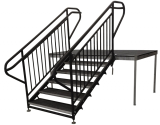 5 Step Fixed Stair Unit with Extended ADA Guardrails & Handrails