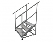 3 Step Free Standing Grated Aluminum Stair Unit