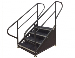 4 Step Free Standing Stair Unit w/ Curved Handrails