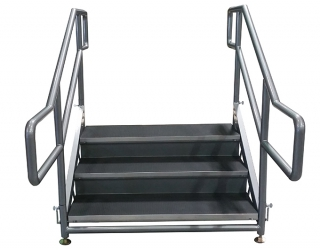 3 Step Free Standing Stair Unit with Curved Handrails and Closure Panels (Front View)