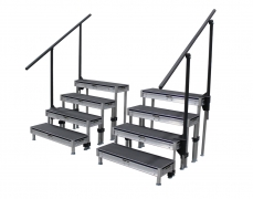 4 Step Stage Deck Free Standing Stair Unit - (2) 3' Sections