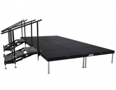 Black Powder Coated  Grated Aluminum Stage with (2) 3 Step Adjustable Stair Units
