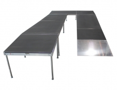 "4' Wide x 32' Long ""U"" Equipment Ramp with 4' x 10' Mid & 4' x 4' Top Landings"