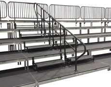 5 Tiered Choral Riser with ADA Steel Picket Guardrail and Hardrail