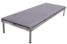 3ft x 8ft Grey Carpet Deck with Fixed Height Legs