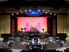 Custom Rolling Riser System designed and built by Staging Dimensions for Church In The Now
