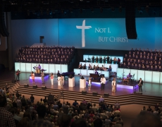 Custom Light Boxesand Closure Panelson Rolling Risers for Thomas Road Baptist Church in Virginia