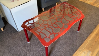 """28"""" x 54"""" Butterfly Wing Inspired Aluminum Coffee Table Powder Coated Cherry Red - Designed by: Victoria Humphrey"""