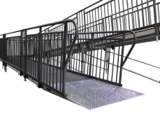 "4' Wide x 48' Long ""U"" ADA Ramp with 4' x 10' & 5' x 5' Top Landing & Powder-Coated Guardrails"