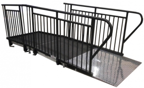 4' Wide x 8' Long Straight ADA Ramp with 4' x 4' Top Landing & Powder-Coated Guardrails