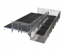 "52"" Wide x 20' Long Straight ADA Ramp with 5' X 5' Top Landing & 38""High Continuous Grab Rail"
