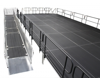 4' Wide x 32' Long Straight ADA Ramp with 4' x 4' Rest Platform & 4' x 6' Top Landing