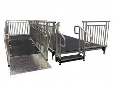 "52"" Wide x 8' Long Straight ADA Ramp with 5' x 6' Top Landing &  38""High Continuous Grab Rail"