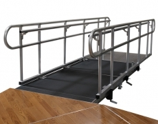 "4' Wide x 12' Long Straight ADA Ramp with 38""High Continuous Grab Rail"