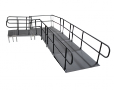 "52"" Wide x 14' Long ""L"" ADA Ramp with 5' x 5' Mid Landing & Powder-Coated Starter Ramp"