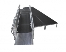 "4' Wide x 14' Long Straight ADA Ramp with 38""High Continuous Grab Rail"