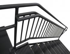 9 Step Adjustable Stair Unit w/ Custom Handrails - Top View