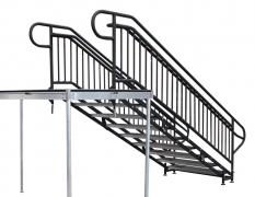 9 Step Adjustable Stair Unit w/ Custom Handrails - Back View