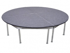8' Diameter Gray Carpeted Stage - 4 Piece Construction