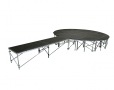 Non-Skid Quad Ripple Circle Stage w/ Runway - Side View