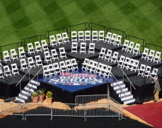 Custom Tiered Seating Riser with Laminate Overlay for Phillies 2008 World Series Celebration