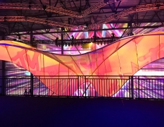 Aluminum Tube Wrapped Free Form Floating Front & Rear Video Projection Sculptures