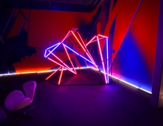 Free-Form Aluminum Tube Photo Booth Lit with Astera Titan Tubes