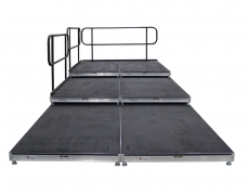 3 Tiered Carpeted Riser with Standard Guardrail - Front View