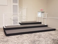 3 Tier Riser w/ Grey Carpet & Custom White Powder Coated Guardrail for Chestnut Level Pres Church in Quarryville