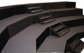 4 Tiered Gray Carpeted Riser with 2 Step Stair Units