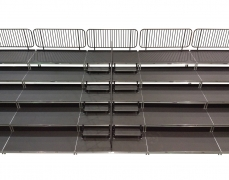 5 Tiered Riser with ADA Steel Picket Guardrail and Handrail
