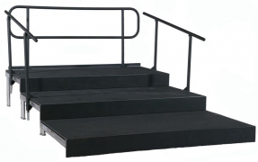 3 Tiered Polyvinyl Riser with Closure Panels and Railing