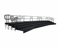 4 Tiered Black Carpeted Riser with Standard Guardrail